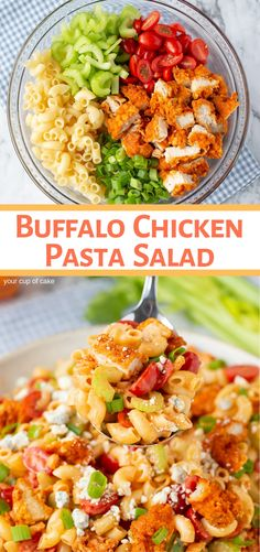 This is AMAZING! Easy Buffalo Chicken Pasta Salad and it's easy to make too! #easy #dinner #pasta #salad #summer #picnic #food #inspiration #fun