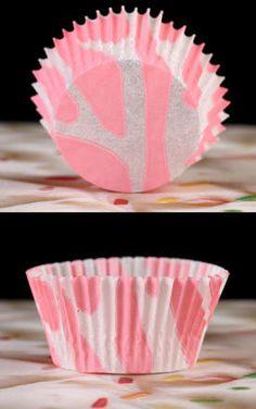 Zebra Print Baking Cups - Pink & White