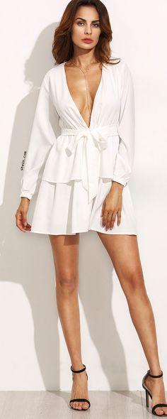 Ivory Deep V Neck Self Tie Long Sleeve Tiered Dress