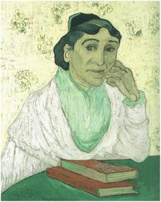 L'Arlesienne (Madame Ginoux), Saint-Rémy, February, 1890. Private collection. Oil on canvas. The same title is given to a group of six similar paintings by Vincent van Gogh (1853-1890), a Dutch post-Impressionist painter.      The subject, Marie Jullian (or Julien) Ginoux ran the Café de la Gare where Van Gogh lodged from May to mid September 1888.