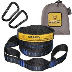 Wise Owl Outfitters Talon Hammock Straps – Combined 20 Ft Long, 38 Loops Carabiners – Easily Adjustable, Tree Friendly Must Have Gear For Camping Hammocks Like Eno Grey Stitching Hammock Tree Straps, Hammock Tent, Hammocks, Owl Talons, Best Strap On, Camping In Illinois, Wise Owl, Covered Pergola, Patio Furniture Sets