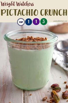 This 3 ingredient Pistachio Crunch is just 3 Smart Points on Weight Watchers Fre. This 3 ingredient Pistachio Crunch is just 3 Smart . Weight Watcher Desserts, Weight Watchers Snacks, Plats Weight Watchers, Weight Watchers Meal Plans, Weight Watchers Smart Points, Weight Watchers Recipes With Smartpoints, Weigh Watchers, Ww Desserts, Weight Watcher Recipes