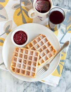 Monte Cristo Waffles with Warm Raspberry Sauce — Serves 4 to 6 (Makes 8 thick Belgian-style waffles or about 16 regular waffles)| The Kitchn