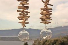 Photophores suspendus verre & bois flotté, duo., latitude 42.02 Made in Corsica Création bijoux et bois flotté