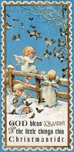 So sweet ~ with the angels playing in the snow as the birds fly in to listen to the music one if playing.........<3