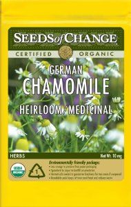 Seeds of Change S10695 Certified Organic German Chamomile by Seeds of Change. $4.94. Seeds of change contributes 1-percent of net sales to advance the cause of sustainable organic agriculture worldwide. Independently tested for high germination rates and purity and meets or exceeds federal standards. Hermetically sealed package that is re-sealable gives longer life and higher germination rates. Free of GMO's (genetically modified organisms), chemicals and pesticides...