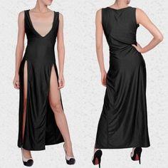 Sexy Club Stage Bandage Bodycon Fashion Black Cocktail Long Dress
