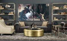 high fashion home gray wall living room idea 37