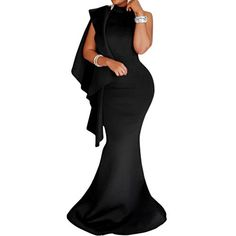 de834c794cd Black High Neck Ruffle Maxi Dress