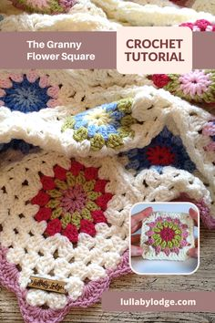 Free pattern and video tutorial by Lullaby Lodge... Crochet Flower Squares, Granny Square Crochet Pattern, Crochet Granny, Crochet Blanket Patterns, Crochet Motif, Free Crochet, Crochet Top, Knitting Patterns, Crochet Home Decor