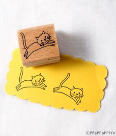43% OFF SALE running cat 02  Rubber Stamp on Etsy, €2,14