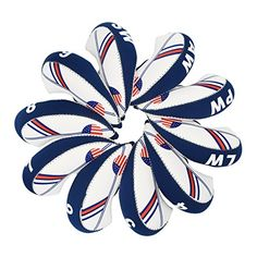Golf Club Headcovers Wedge Iron Protective Head cover with Golf White & Blue US Flag Neoprene