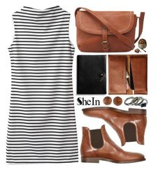 """""""Sheinside"""" by ruska-10 ❤ liked on Polyvore featuring Coach, vintage, brown and striped"""