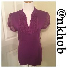 Heart & Soul Purple Ruffle Top Purple top with short sheer sleeves and ruffles of the same material adorn the bodice of this gorgeous top. Form fitting. Has belts loops but does not have a belt. EUC (A) HeartSoul Tops