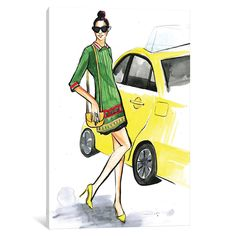 New York Fashion by Rongrong DeVoe Painting Print on Wrapped Canvas
