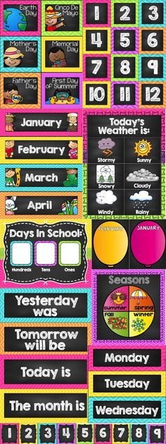 Calendar package! Everything you need to organize your calendar this year. Includes birthday charts, weather charts, season dials, special event cards, attendance counting charts, days in school tracker and a 1-120 number line! Lots of colored themes available including chevron, polka dots, monsters, chalkboard, superhero and owls!