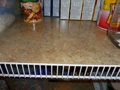 Tired of cleaning wire pantry shelves or having small things fall through the space? Lay vinyl floor tiles on each shelf. They can be trimmed to size.
