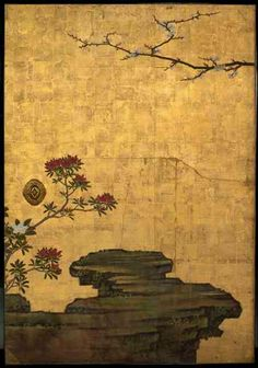 Attibuted to Kano Sansetsu: 'The Old Plum', Edo Period four sliding door panels (fusuma) in ink, colour and gold leaf on paper; courtesy of The Metropolitian Museum of Art Japanese Artwork, Japanese Prints, Japanese Screen, Japanese Wall, Art Chinois, Japan Painting, Art Japonais, Edo Period, Japan Art