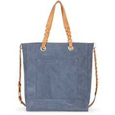 Sole Society Arron Braided Canvas Tote ($60) ❤ liked on Polyvore featuring bags, handbags, tote bags, chambray blue, zip top canvas tote, blue handbags, blue canvas tote bag, shoulder strap purses and woven purse