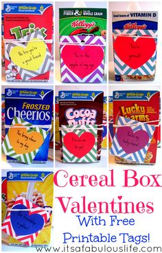 Cereal Box Valentine's - with free printable tags - These are our FAVORITE valentines we've made! :)
