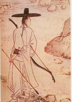 이미지 사이즈 : 462 x 652    이미지 사이즈가 화면보다 큽니다.   왼쪽 버튼을 클릭한 후 마우스를 움직여서 보세요.    더블 클릭하면 닫혀요. Korean Art, Asian Art, Ink Painting, Figure Painting, Chinese Weapons, Korean Painting, Bow Arrows, Korean Traditional, Art Drawings Sketches