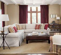 gardinen wohnzimmer ledertisch landhaussofa rote gardinen sisalteppich
