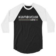 Excited to share the latest addition to my #etsy shop: Kombucha Tea Fan Life Unisex Baseball 3/4 Sleeve Longsleeve Raglan Tee Shirt Gift for Her Him Woman Man #clothing #shirt #kombucha #life #tea #baseballshirt #longsleeve