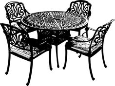 Iron filigree patio furniture png clip art Digital Image Download graphics printables
