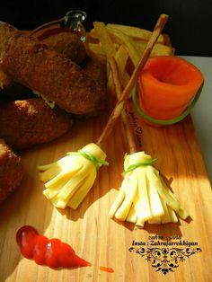 جارو و سطل آب خوردنی(چوب شور و پنیر ورقه ای.ساقه ی جعفری)(هویج و ساقه ی جعفری)