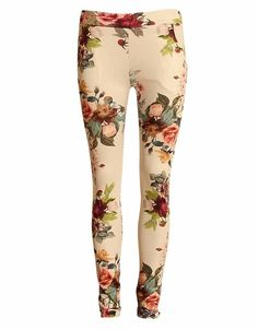 BRIGHT FLORAL PRINT TROUSERS WHITE WITH POCKETS £ 11.95