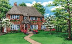 """This 10""""x 16"""" watercolor house portrait depicts a handsome brick home in Rochester, New York and was a gift from a thoughtful wife to her husband for his 50th birthday. If you have a special occassion cominng up and would like to surprise your loved one with a beautiful original portrait of their home, contact me to reserve a spot on my 2021 schedule, 314-892-9221. Artwork image © 2020 Flecke Artwork Images, Watercolor Portraits, Custom Homes, Brick, Handsome, Exterior, House Design, Mansions, The Originals"""