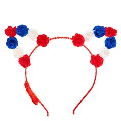 Get purr-fect 4th of July party style with this headband. The thin red ribbon wrapped band is topped with cat ears lined with red, white, and blue flowers that light up. Get in the patriotic spirit with these trendy cat ears.
