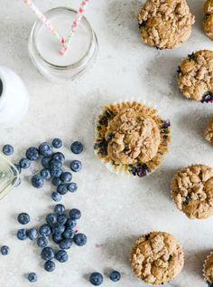 Whole Wheat Blueberry Yogurt Crumb Muffins | recipe on howsweeteats.com