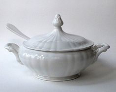 White Ironstone Soup Tureen With Cover and Porcelain Ladle Italy Vintage $55