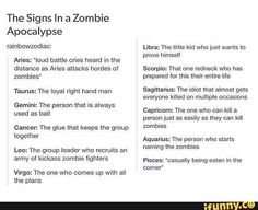 people in horror movies in zodiacs - so freaking trueee!!