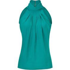 MICHAEL KORS Aquamarine Silk Halter Top ($750) ❤ liked on Polyvore