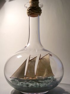 Love this contemporary made ship-in-bottle of the schooner A.J. MEERWALD  by Virginia artist Heather Gabrielle Rogers. From Skipjack Nautical Wares & Marine Gallery