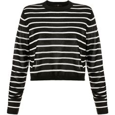 Tibi Nautical Stripe Cropped Pullover (400 PEN) ❤ liked on Polyvore featuring tops, sweaters, shirts, crop top, multicolour, striped shirt, nautical stripe shirts, multi color striped shirt, long-sleeve crop tops and nautical striped shirt