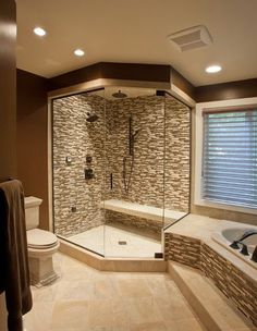 home decor interior design decoration image picture photo bathroom interior design house design design and decoration de casas design Dream Bathrooms, Beautiful Bathrooms, Luxury Bathrooms, Glass Tile Shower, Shower Bathroom, Stone Shower, Budget Bathroom, Glass Showers, Glass Tiles