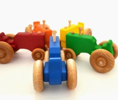 Personalized Wood Toy Tractor Orange Wooden Toy by hcwoodcraft