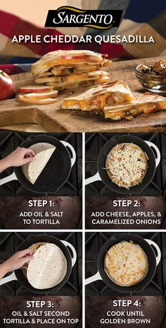 Let crisp fall weather inspire your lunch or dinner appetizer recipe with these easy, cheesy, apple quesadillas. All you need is tortillas, ripe apples, fresh arugula and our Shredded Mozzarella Cheese. They heat up quick in a skillet for a gooey, delicious, autumn-inspired treat. Pair it with mango salsa or chutney for a sweet finish. Get the full recipe on Sargento.com.