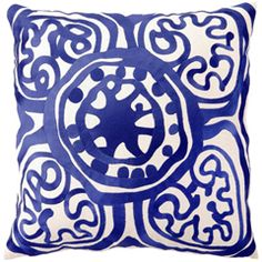 Dining Room Upholstery - Trina Turk Pillow Embroidered Linen Rustic Medallion Lapis PH24TT41DC20SQ