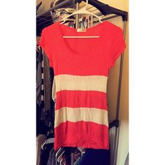 Orange and white tee shirt. Orange and white striped tee Lette usa Tops Tees - Short Sleeve