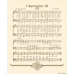 I SURRENDER ALL --- 8 x 10 Antique Hymn PIF Pay It Forward Destash Bargain Sale Natural Parchment Sepia Brown Ink Vintage Style Sheet Music on Etsy, $1.99