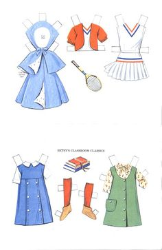 Betsy McCall paper doll clothes for school