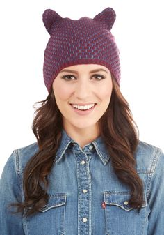 Lend Me Your Ears Hat. Youre ready to take on the cold snap in this knit hat by Yumi! #purple #modcloth