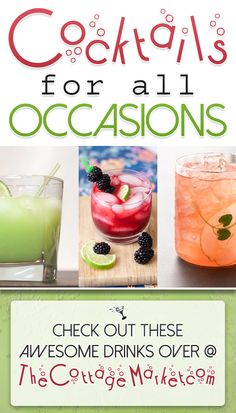 Cocktails for all Ocassions - The Cottage Market #Cocktails, #CocktailCollection #CocktailDIY