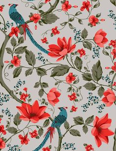 Colorfull Wallpaper, Pop Art Wallpaper, Pattern Wallpaper, Motifs Textiles, Textile Patterns, Print Patterns, Oriental Print, Oriental Pattern, Jugendstil Design