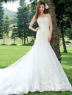 $319.00 Mermaid Sweetheart Cathedral Train Lace Wedding Dresses #Cheap #wedding #dresses #