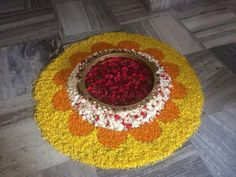 Flower Rangoli, Flowers Decoration, Rangoli Designs, Tree Skirts, Celebration, Christmas Tree, Holiday Decor, Floral, Home Decor